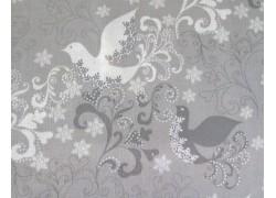 Patchworkstoff Vögel Glisten grau weiß Quiltstoff