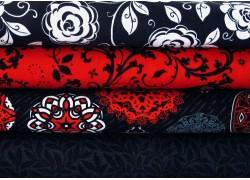 Stoffpaket rot weiß schwarz