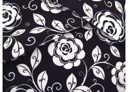 Patchworkstoff Blumenstoff schwarz weiß Opposites Attract