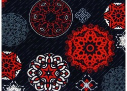 Quiltstoff Ornamente rot schwarz Moroccan Red Patchworkstoff