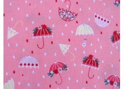 Kinderstoffe Baumwolle Patchworkstoff rosa Regenschirm