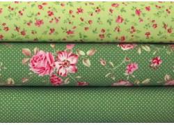 Stoffset grün Rosen