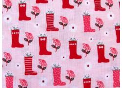 Kinderstoffe Baumwolle Patchworkstoff rosa Gummistiefel