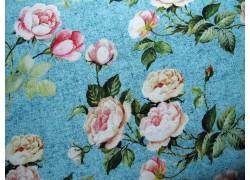 Rosenstoff türkis rosa Rosalinda Quiltstoff