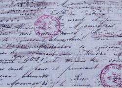 Patchworkstoff Noten Schrift blau schwarz Travel Notes Quiltstoff