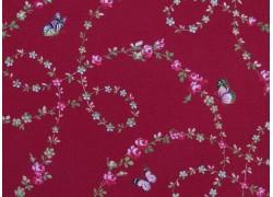 Rosenstoff Schmetterlinge bordeaux Victoria´s Garden Patchworkstoff