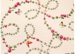 Rosenstoff Schmetterlinge vanille Victoria´s Garden Patchworkstoff