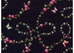 Patchworkstoff Rosen Schmetterlinge schwarz Victoria´s Garden