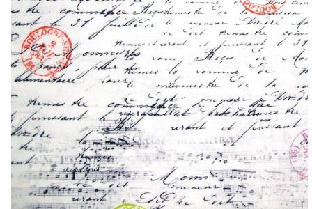 Quiltstoff Schrift Noten schwarz weiß Travel Notes