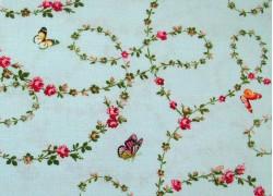 Patchworkstoff Rosen Schmetterlinge Victoria´s Garden Quiltstoff