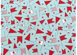 Designerstoff Wimpel Fahnen rot blau Wishes Patchworkstoff