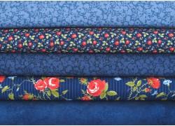 Stoffpaket blau rot Blumen