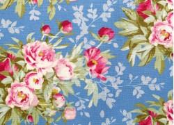 Tilda Stoffe Blumen Woodland Hazel Blue Patchworkstoff