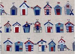 Dekostoff Strandhäuser Canvas blau rot natur