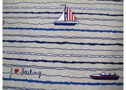 Dekostoff Segelboote Canvas blau rot natur