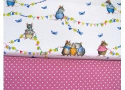 Stoffpaket Daniela Drescher Stoffe Mäuse rosa 72041