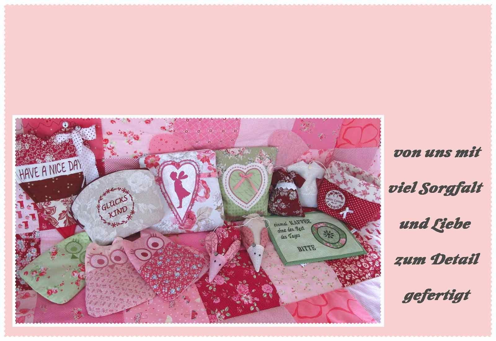 bei HettyRosePatch Kosmetiktaschen klein, Schlüsselbänder, Wärmekissen oder Patchworkdecken Quilts aus hochwertigen Stoffen mit Liebe zum Detail gefertigt